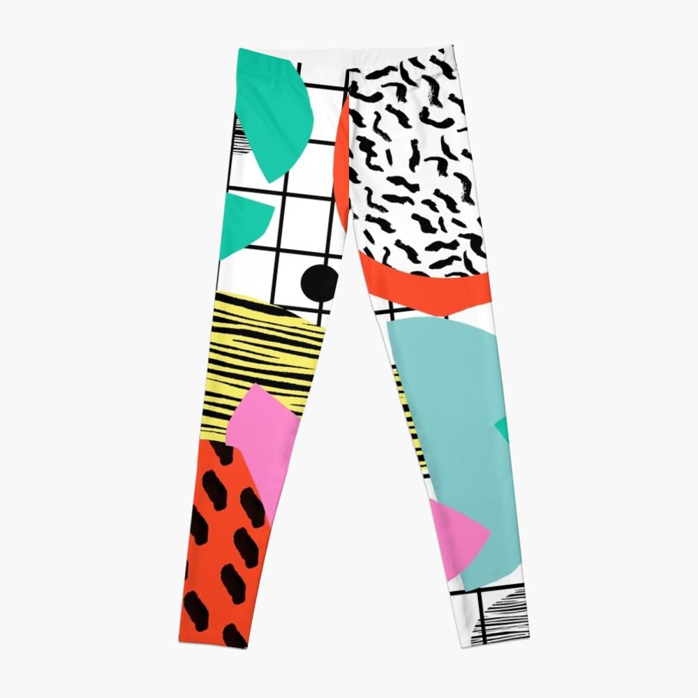 Posse - 1980's style throwback retro neon grid pattern shapes 80's memphis design neon pop art Leggings