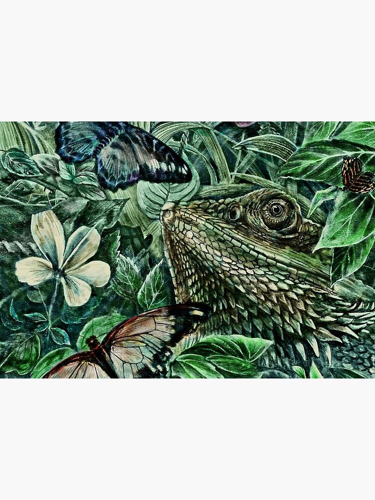 Bearded Dragon and Butterflies - Colour by steveelliott