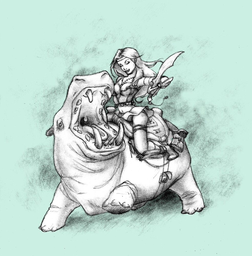 Riding Hippo by Fiele