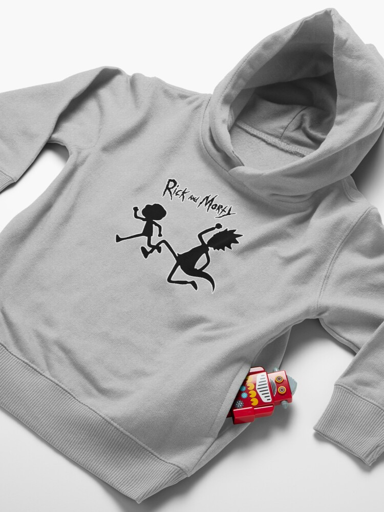 Alternate view of Rick and Morty black and white Toddler Pullover Hoodie