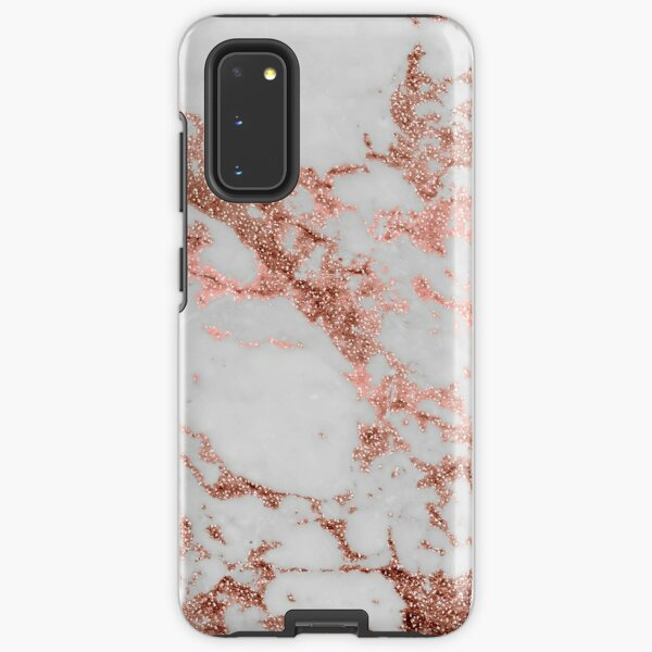 Stylish white marble rose gold glitter texture image Samsung Galaxy Tough Case