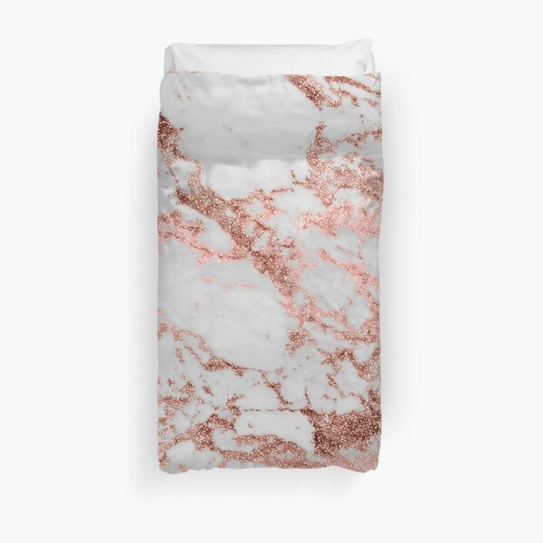 Stylish white marble rose gold glitter texture image Duvet Cover