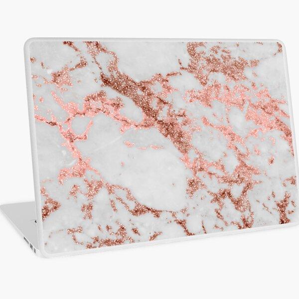 Stylish white marble rose gold glitter texture image Laptop Skin