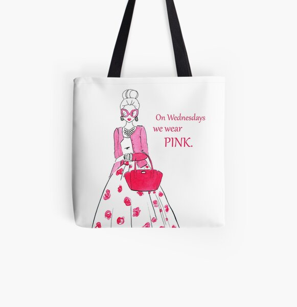 Pink Quote All Over Print Tote Bag