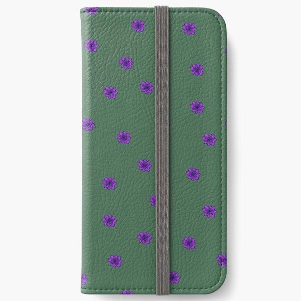 Psychedelic purple flower iPhone Wallet