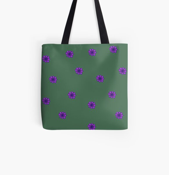 Psychedelic purple flower All Over Print Tote Bag