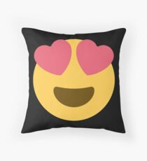 smiling face with heart-shaped eyes emoji Throw Pillow