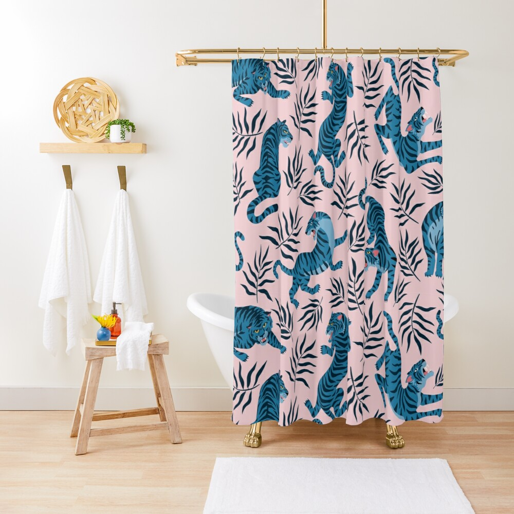 Asian tigers and tropical leaves Shower Curtain