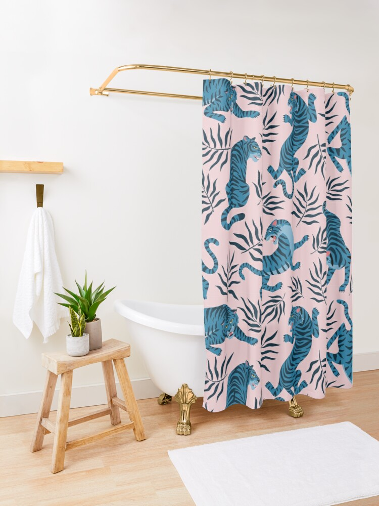 Alternate view of Asian tigers and tropical leaves Shower Curtain