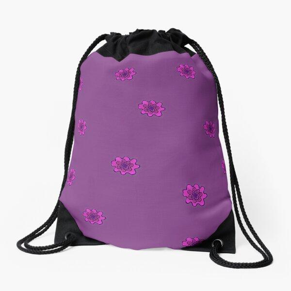 Psychedelic pink flower Drawstring Bag