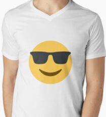 smiling face with sunglasses Men's V-Neck T-Shirt