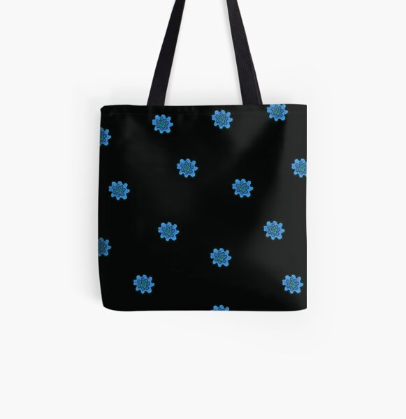 Psychedelic blue flower All Over Print Tote Bag