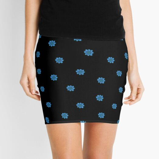 Psychedelic blue flower Mini Skirt