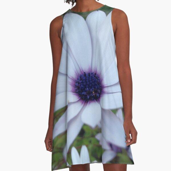 White Osteospermum Flower Daisy With Purple Hue A-Line Dress