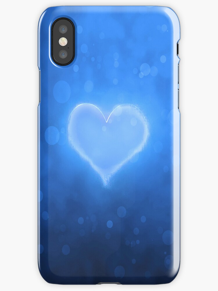 Abstract blue heart stylish iphone case by nishagandhi