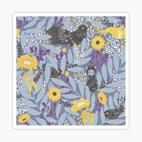 Whimsical blue garden with yellow flowers Sticker