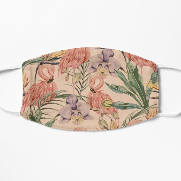 Tropical birds pink flamingo exotic flowers bird of paradise seamless pattern Mask