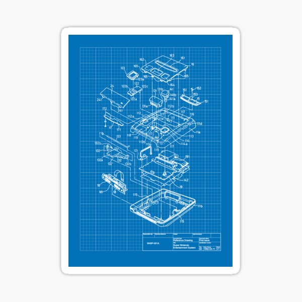SNES / Super Famicom blueprint Sticker