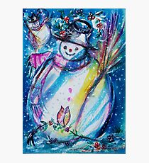 Snowman With Owl In Winter Photographic Print