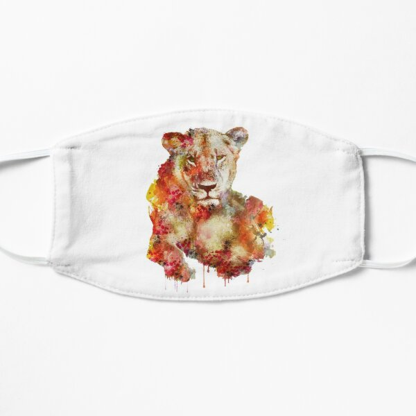 Resting Lioness in watercolor Mask