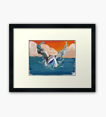 Lugia and sunset Framed Print
