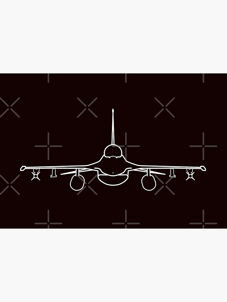 F-16 classic aircraft outline graphic (white) by soitwouldseem