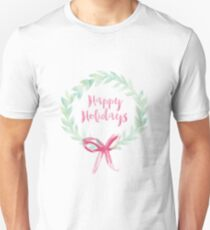 Red and Green Watercolor Holiday Wreath Unisex T-Shirt