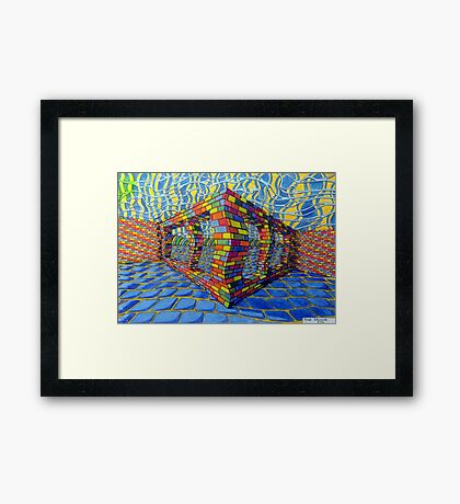 351 - THE RAINBOW WALL - DAVE EDWARDS - COLOURED PENCILS & INK - 2012 Framed Print