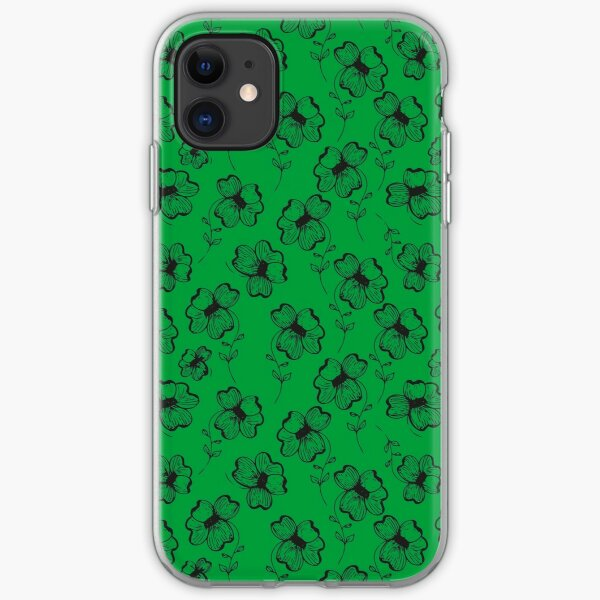 Bright Green Pretty Pansy iPhone Soft Case
