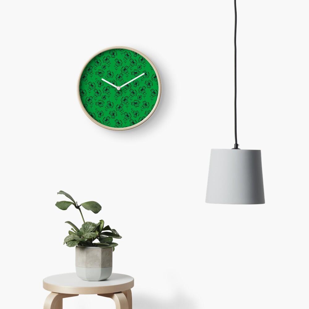 Bright Green Pretty Pansy Clock
