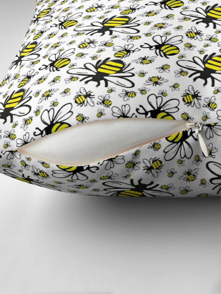 Alternate view of Buzzy Bee and his little ones  Throw Pillow