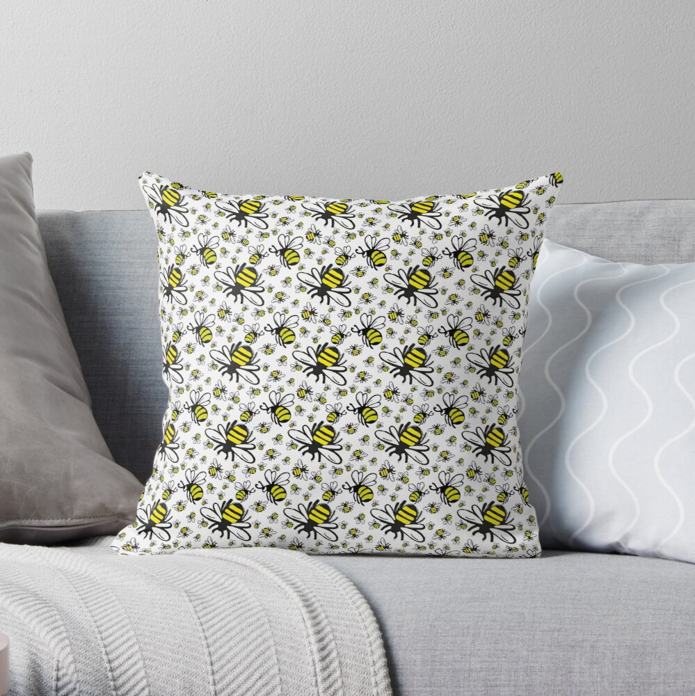 Buzzy Bee and his little ones  Throw Pillow