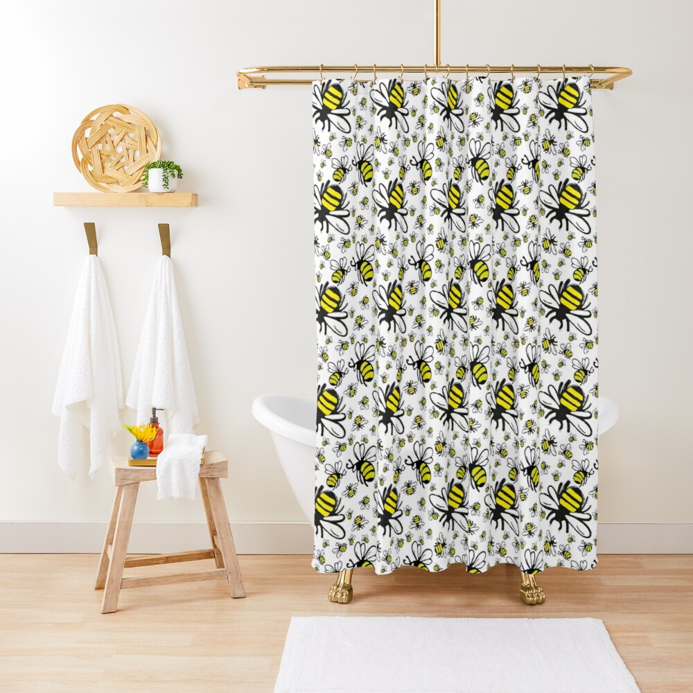 Buzzy Bee and his little ones  Shower Curtain