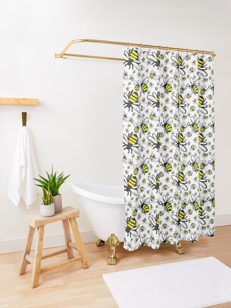 Alternate view of Buzzy Bee and his little ones  Shower Curtain