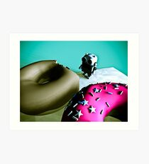 Doughnuts and Toy Robot 02 Art Print