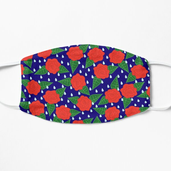 Raindrops and Roses - Red on Navy Flat Mask