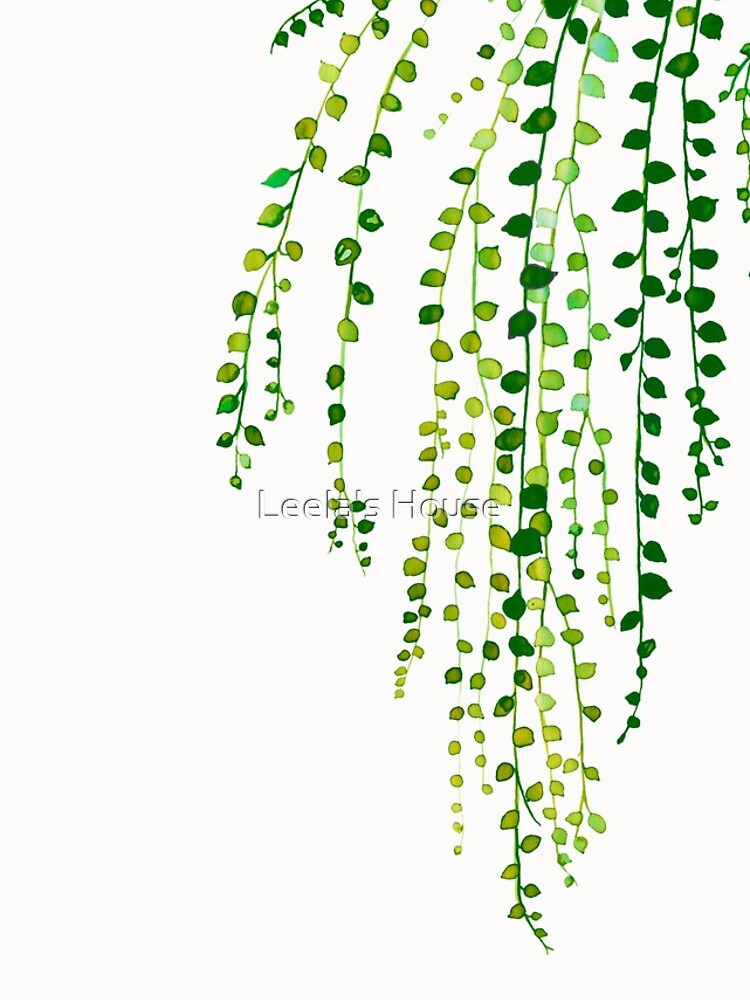 Green string of pearls ink illustration botanical nature by purdeybarcelona