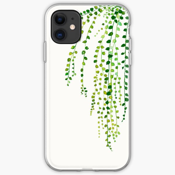 Green string of pearls ink illustration botanical nature iPhone Soft Case