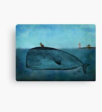 Whale and dog Canvas Print