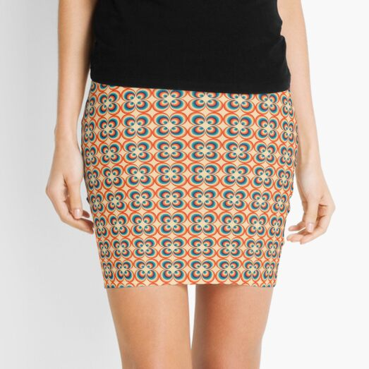 Retro Hippie Circles Butterfly Aqua 8 Color 70s pattern Mini Skirt