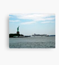 Norweigan Cruise Liner in the Hudson Passes Lady Liberty Canvas Print