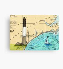 Oak Island Lighthouse NC Nautical Chart Cathy Peek Canvas Print