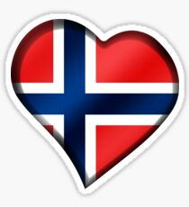 Norwegian Flag - Norway - Heart Sticker