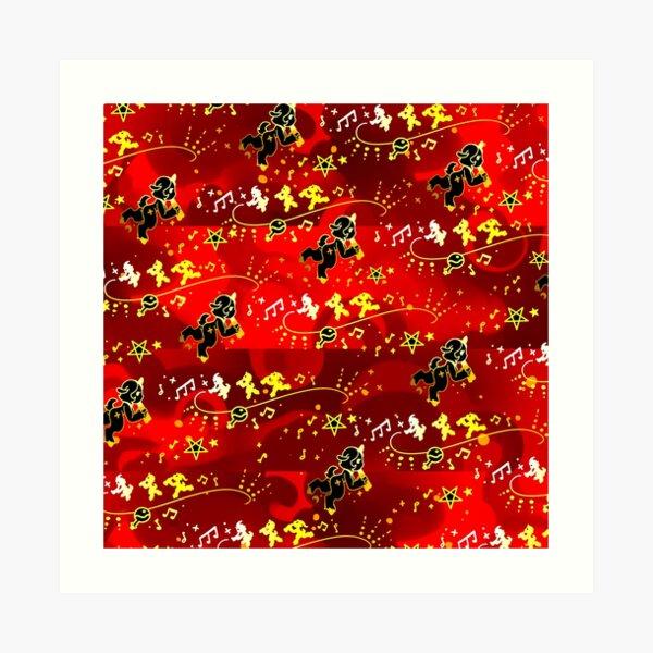 Gold Red Satyr Pattern Art Print