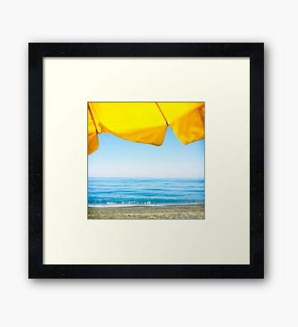 Yellow Sun Shade and Blue Sky Framed Print