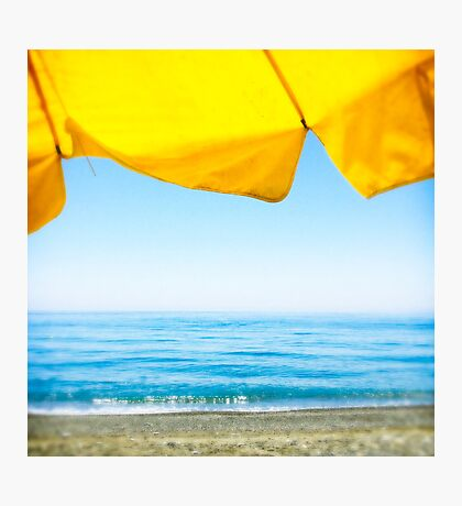 Yellow Sun Shade and Blue Sky Photographic Print