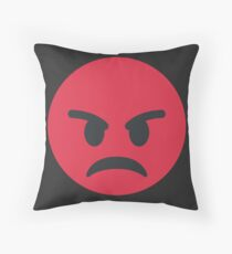Red Angry Face Emoji Throw Pillow
