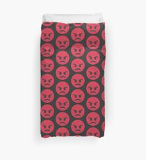 Red Angry Face Emoji Duvet Cover