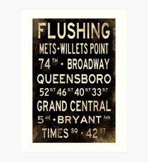 "New York ""Flushing"" V1 Distressed subway sign art Art Print"