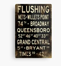 """Lienzo metálico Nueva York """"Flushing"""" V1 Letrero de metro apenado"""